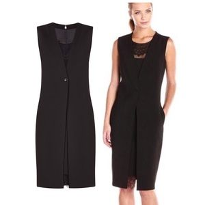 BCBGMAXAZRIA Black Lace Trim Vest Formal Dress